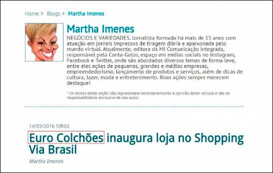 site de Sidney Resende fala sobre nova loja da Euro Colchões