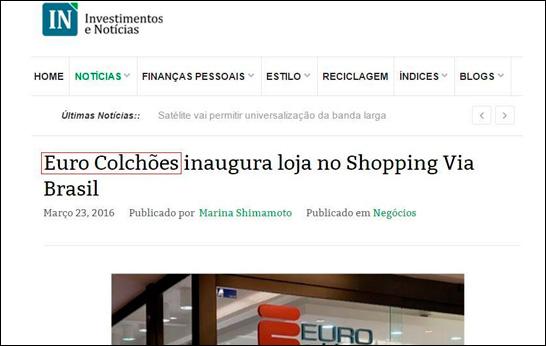 Matéria sobre nova loja da Euro Colchões no Investimentos e Notícias