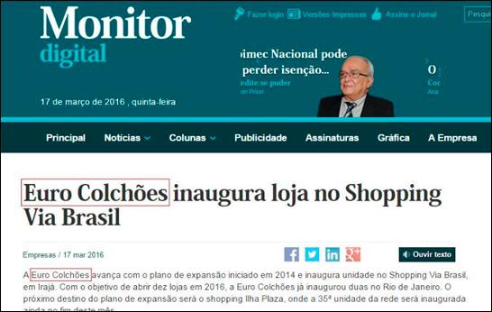 Matéria sobre Euro Colchões no Monitor Digital