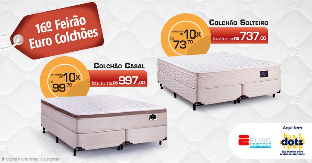 No 16º Feirão Euro Colchões terão ofertas imperdíveis de colchão de casal e de solteiro.